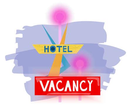Hotel vacancy colorful futuristic sign with simple shapes Ilustração