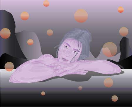 Pink skin colored girl dreaming about something. Ilustração