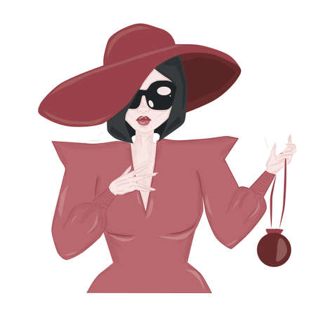 Elegant woman in pink dress and heat wearing sunglasses Ilustração