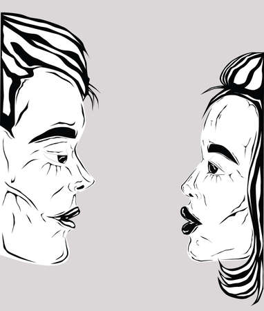 Cartoon of a couple in black and white preparing to kiss, view from side
