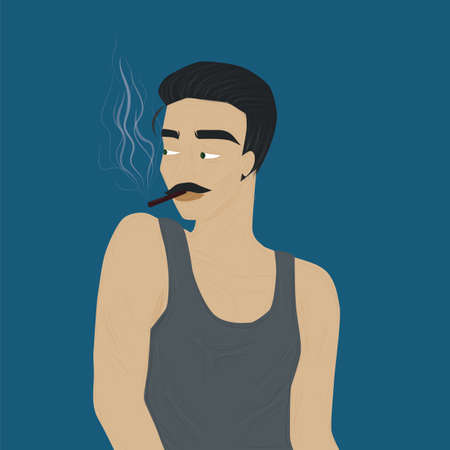 Handsome and stylish mature man smoking a cigarette