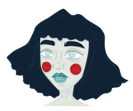 Cartoon style girl with blue hair and red circles on cheeks Ilustracja