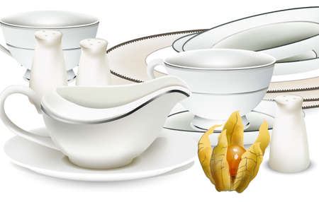 White classic style dishes with gravy boat, tea cups, salt dispenser and plates Ilustração