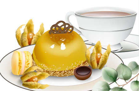Delicious pudding cake with cape gooseberry, macaron sweets, tea and toffee candy on table