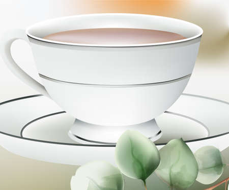 Cup with tea on a white table. Green leaves on foreground Ilustracja