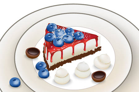 Delicious cake with blueberry and red syrup. Meringue and toffee candy decoration Ilustracja
