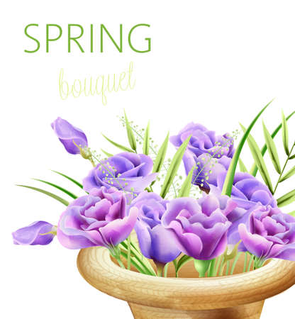 Spring bouquet with watercolor roses in purple color. Composition in a hat