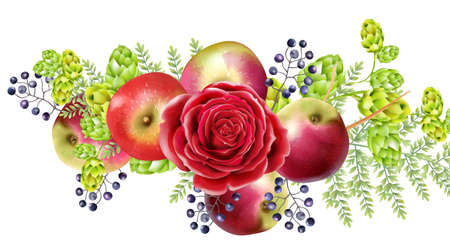Spring set with rose flowers, blueberries, apples, artichokes and green leaves. Vector