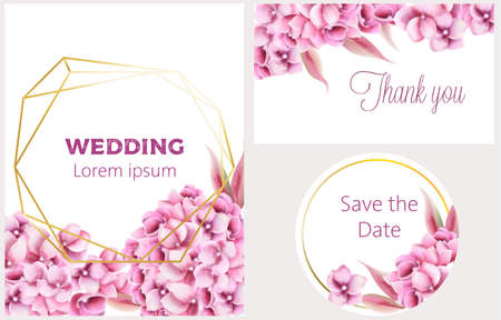 Wedding invitation card set with orchid flowers and pentagon, circle frame. Place for text. Watercolor vector Ilustracja