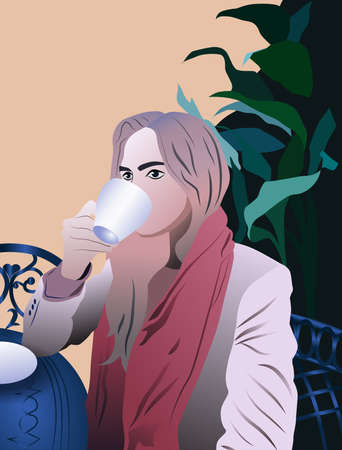 Young girl in coat drinking coffee outside with green bush