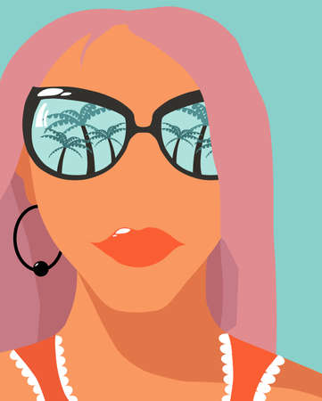 Cartoon fashion girl with rose hair and sunglasses with palm trees reflections