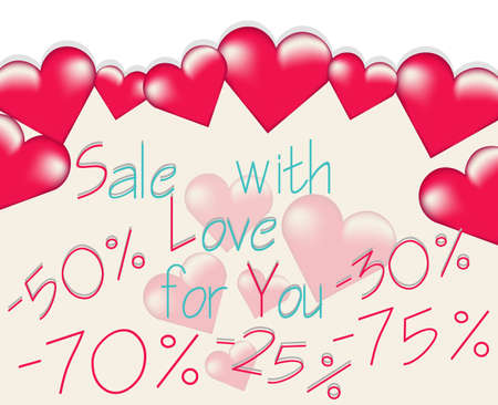 Valentines day sale banner with big rose hearts floating. Vector Standard-Bild - 139658897