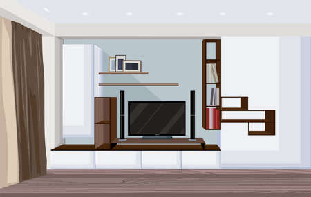 Modern living room with big tv and shelves for books and photo frames. 일러스트
