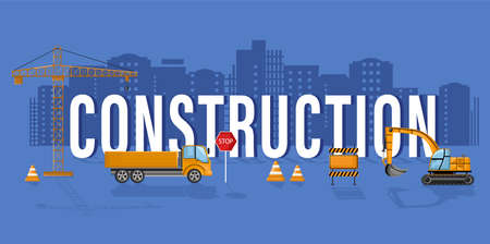 Construction  template with office workers and architects develop team.