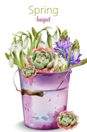 Spring bouquet of flowers in bloom. Bluebell, lavender, peony. Old purple painted bucket. Vector