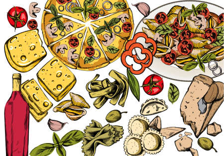 Line art italian food composition with delicious pizza, pasta with tomatoes, cheese and red wine. Vector