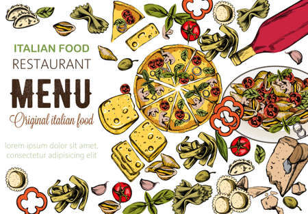 Line art food composition with delicious pizza, pasta with tomatoes, cheese and red wine. Italian restaurant menu template. Vector