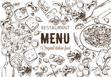 Line art food composition with delicious pizza, pasta with tomatoes, cheese and red wine. Sketch style. Italian restaurant menu template. Vector Ilustracja