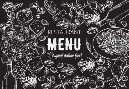 Line art food composition with delicious pizza, pasta with tomatoes, cheese and red wine. Sketch style. Italian restaurant menu template. Black background. Vector