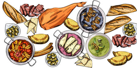 Vector set of spanish national food. Mussels, jamon bone, baguette, cheese, calzone, seafood soup, green beans or spinach puree. Line art style. Spanish cuisine Stock Illustratie