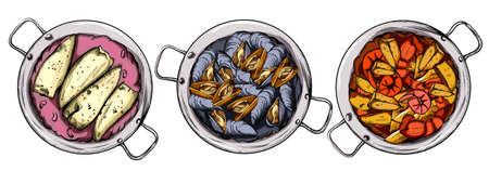 Set of saucepans with bean and fish dish, mussels and seafood soup. Spanish cuisine. Line art Vector