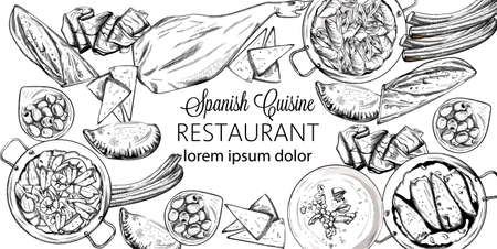 Vector set of spanish national food. Mussels, jamon bone, baguette, cheese, calzone, seafood soup, green beans or spinach puree. Line art sketch style. Spanish cuisine