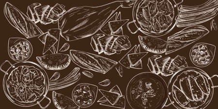 Vector set of spanish national food. Mussels, jamon bone, baguette, cheese, calzone, seafood soup, green beans or spinach puree. Line art sketch style. Dark brown background. Spanish cuisine Vettoriali