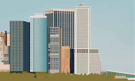 Skyline with various size buildings. City life idea. Place for text. Vector