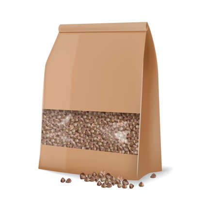 Buckwheat package isolated vector realistic. 3d detailed product package placements