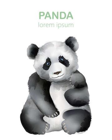 Watercolor portrait of a panda bear. Wildlife animals Иллюстрация