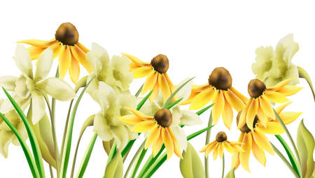 Bright yellow daffodil flowers in watercolor style. Banner