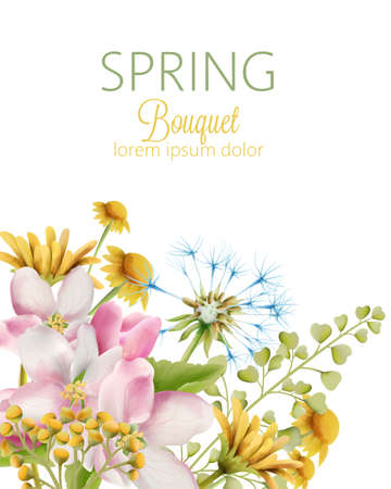 Spring bouquet of watercolor apple, dandelion and daisy flowers with green leaves. Greeting card with place for text. Vector Illustration