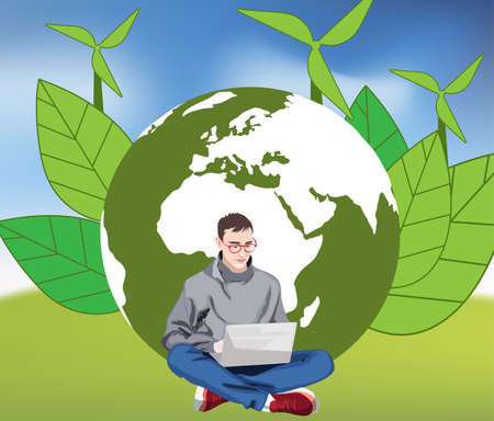 Young man working on green earth background. Unified with planet