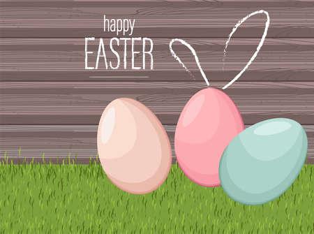 Happy easter colorful eggs on grass with wooden Ilustración de vector