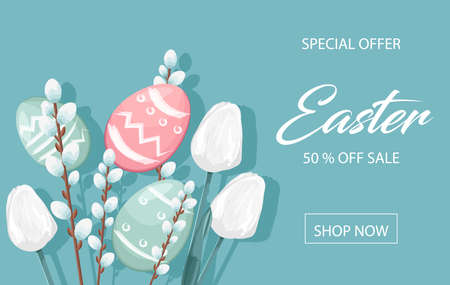 Happy Easter sale banner with eggs, white catkins and tulip flowers decorations