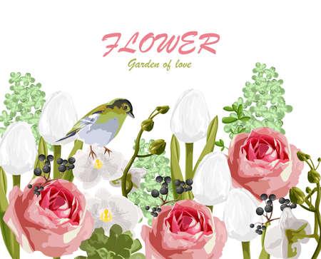 Spring garden of love with rose, tulip flowers, berries and bird Иллюстрация