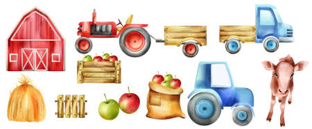Watercolor farm vehicles and buildings set. Cow, tractor with tow, apples in wooden box, red farm and haystack. Vector