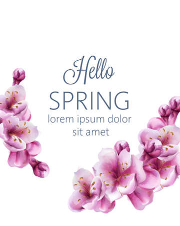Hello spring cherry blossom flowers greeting card with place for text Vector Illustration