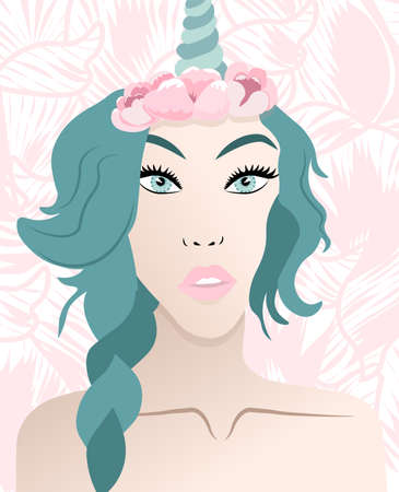 Abstract unicorn woman with floral decorations and turquoise hair Ilustrace