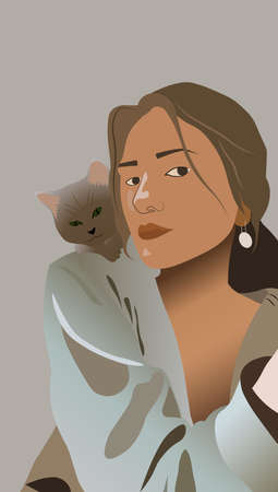 Young girl playing with a little cat. Vectores