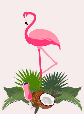 Pink flamingo bird in tropical leaves with coconut and cocktail 向量圖像