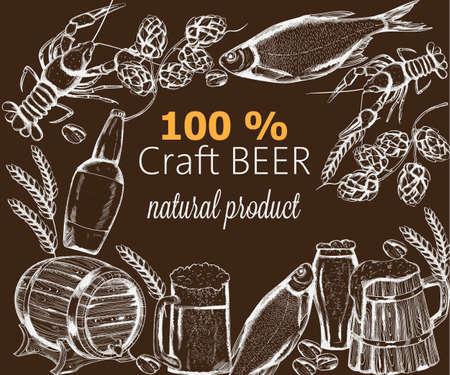 Beer snacks set with fish, crayfish, artichoke and pistachio nuts. Wooden barrel. Brown background Line art vector