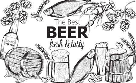 Beer snacks set with fish, crayfish, artichoke and pistachio nuts. Wooden barrel and mugs Line art vector 版權商用圖片