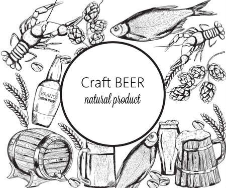 Beer snacks set with fish, crayfish, artichoke and pistachio nuts. Wooden barrel. Line art vector