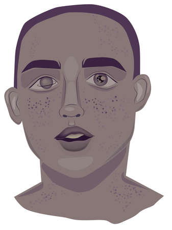 Portrait of a young man with freckles and dark lavender color hair Çizim