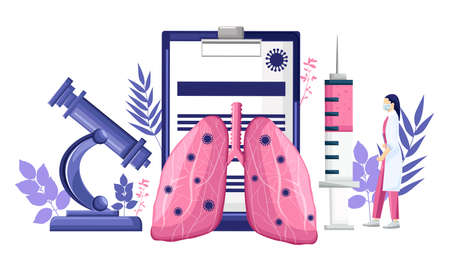 Virus research analyzing lungs affected. Mobile app developing new technology. Medical clinique laboratory Vector illustration