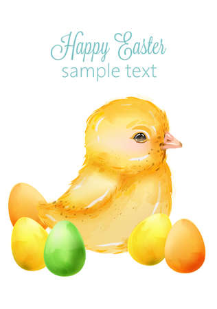 Watercolor happy easter yellow little baby duck with colorful eggs. Vector