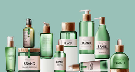 Set of various body care and spa green bottles with wood decoration.
