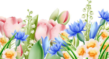 Spring watercolor bouquet of wild flowers. Bell, tulip, aster and daffodil. Vector