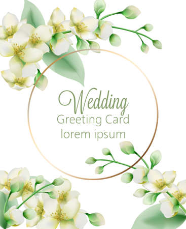 Watercolor green jasmine flowers banner with place for text. Иллюстрация